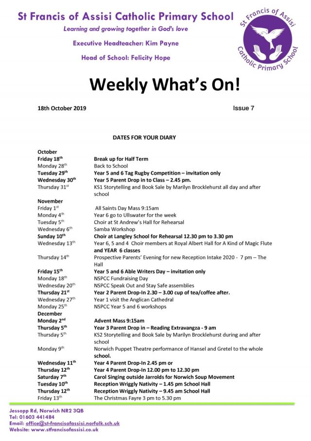 thumbnail of Weekly What's On – Issue 7 18.10.19