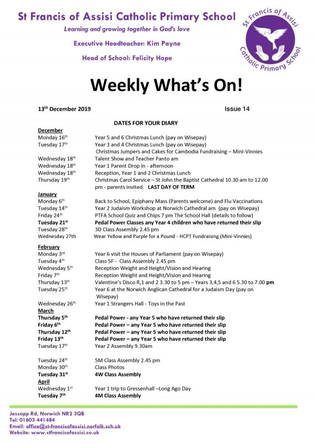 thumbnail of Weekly What's On – Issue 14 13.12.19